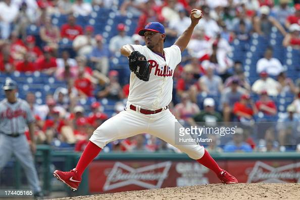 Antonio Bastardo of the Philadelphia Phillies during a game against the Atlanta Braves at Citizens Bank Park on July 7 2013 in Philadelphia...