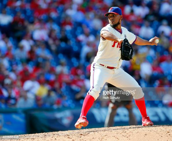 Antonio Bastardo of the Philadelphia Phillies in action against the Miami Marlins during the sixth inning of a game at Citizens Bank Park on...