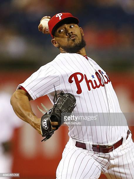 Antonio Bastardo of the Philadelphia Phillies in action against the Pittsburgh Pirates during a game at Citizens Bank Park on September 11 2014 in...