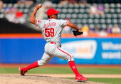 Antonio Bastardo of the Philadelphia Phillies in action against the New York Mets at Citi Field on July 20 2013 in the Flushing neighborhood of the...