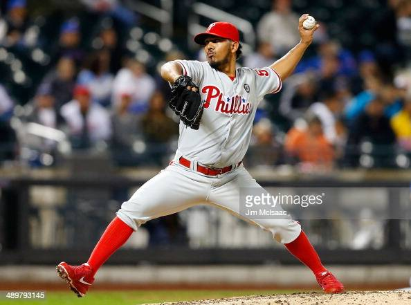 Antonio Bastardo of the Philadelphia Phillies in action against the New York Mets at Citi Field on May 9 2014 in the Flushing neighborhood of the...