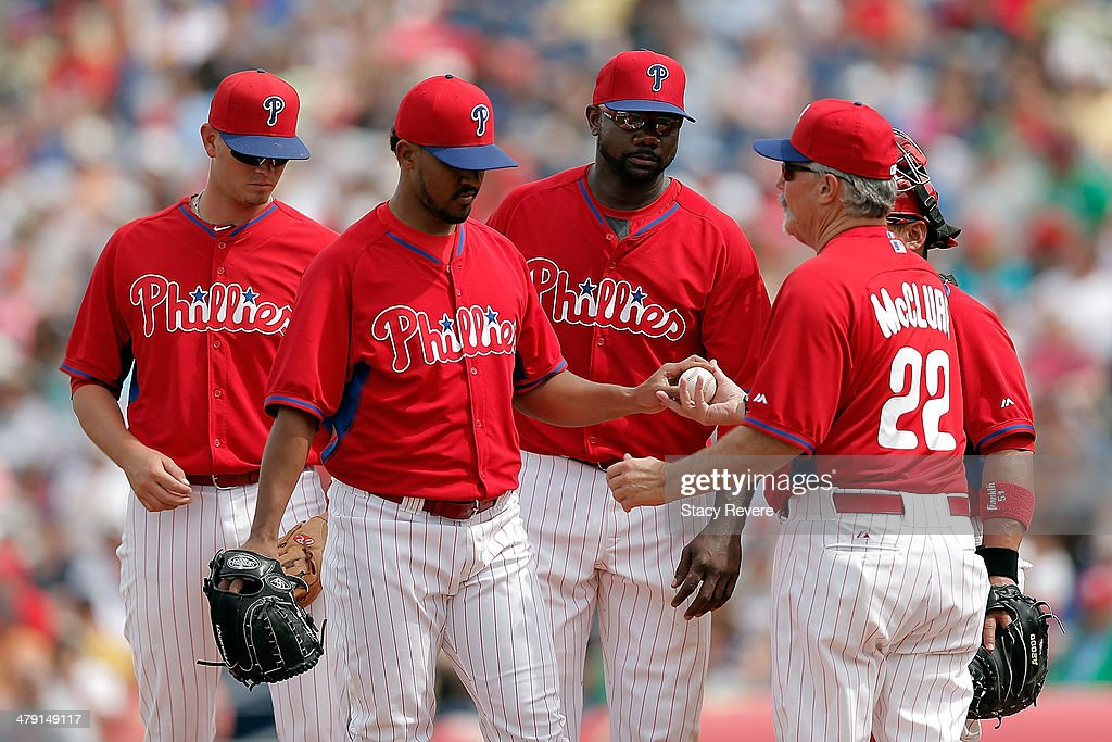 <a gi-track='captionPersonalityLinkClicked' href=/galleries/search?phrase=Antonio+Bastardo&family=editorial&specificpeople=5758440 ng-click='$event.stopPropagation()'>Antonio Bastardo</a> #59 of the Philadelphia Phillies leaves the mound in the seventh inning of a game against the Pittsburgh Pirates at Bright House Field on March 16, 2014 in Clearwater, Florida.