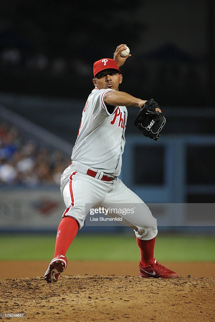 Antonio Bastardo #59 of the Philadelphia Phillies pitches against the Los Angeles Dodgers at Dodger Stadium on June 27, 2013 in Los Angeles, California.