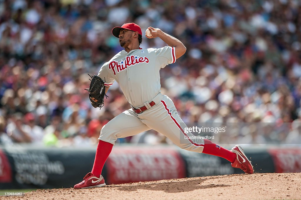 Antonio Bastardo #59 of the Philadelphia Phillies pitches against the Colorado Rockies at Coors Field on June 16, 2013 in Denver, Colorado. The Rockies beat the Phillies 5-2.