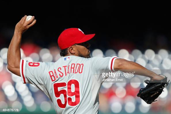 Antonio Bastardo of the Philadelphia Phillies pitches against the Washington Nationals in the eighth inning of a 32 Nationals win at Nationals Park...