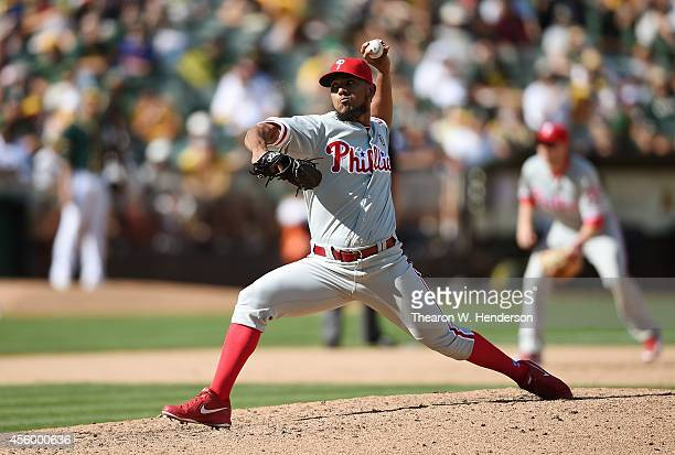 Antonio Bastardo of the Philadelphia Phillies pitches against the Oakland Athletics in the bottom of the eighth inning at Oco Coliseum on September...