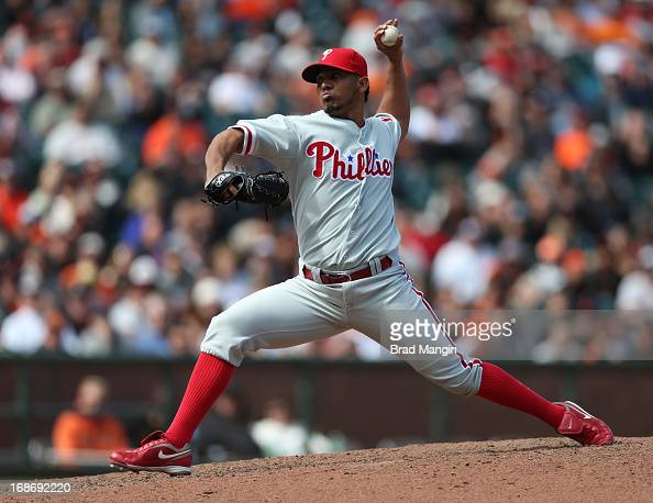 Antonio Bastardo of the Philadelphia Phillies pitches against the San Francisco Giants during the game at ATT Park on Wednesday May 8 2013 in San...