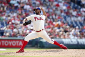 Antonio Bastardo of the Philadelphia Phillies pitches during the game against the Atlanta Braves at Citizens Bank Park on June 28 2014 in...