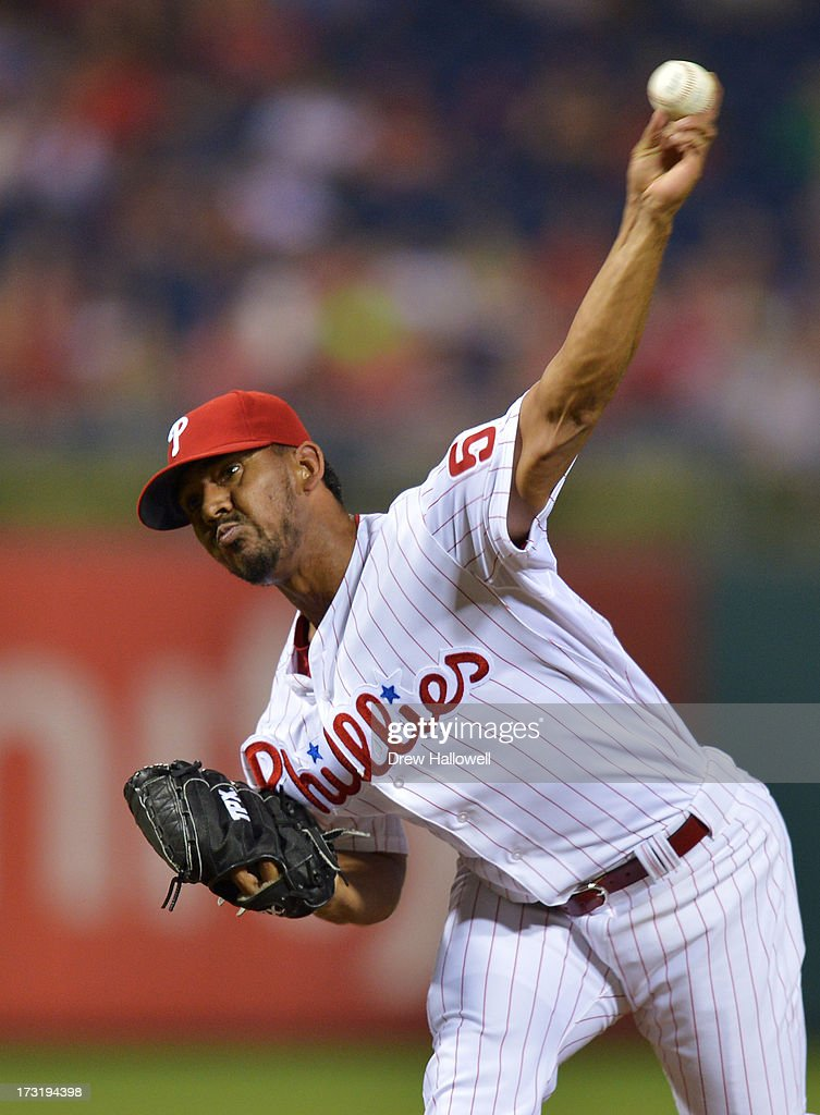 <a gi-track='captionPersonalityLinkClicked' href=/galleries/search?phrase=Antonio+Bastardo&family=editorial&specificpeople=5758440 ng-click='$event.stopPropagation()'>Antonio Bastardo</a> #59 of the Philadelphia Phillies pitches in the ninth inning against the Washington Nationals at Citizens Bank Park on July 9, 2013 in Philadelphia, Pennsylvania. The Phillies won 4-2.