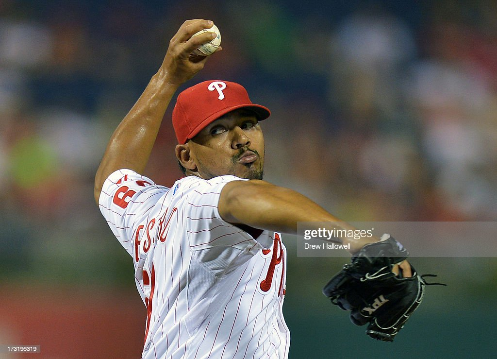 Antonio Bastardo #59 of the Philadelphia Phillies pitches in the ninth inning against the Washington Nationals at Citizens Bank Park on July 9, 2013 in Philadelphia, Pennsylvania. The Phillies won 4-2.