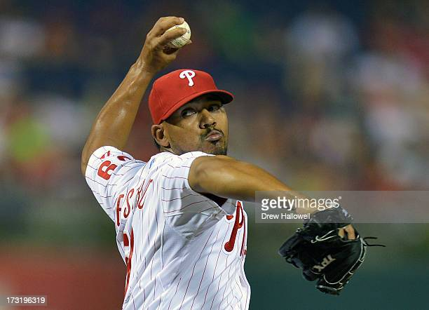 Antonio Bastardo of the Philadelphia Phillies pitches in the ninth inning against the Washington Nationals at Citizens Bank Park on July 9 2013 in...