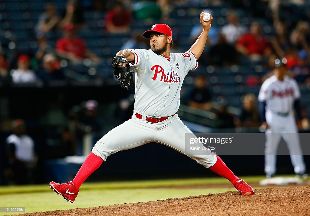 <a gi-track='captionPersonalityLinkClicked' href=/galleries/search?phrase=Antonio+Bastardo&family=editorial&specificpeople=5758440 ng-click='$event.stopPropagation()'>Antonio Bastardo</a> #59 of the Philadelphia Phillies pitches in the ninth inning to the Atlanta Braves at Turner Field on September 2, 2014 in Atlanta, Georgia.