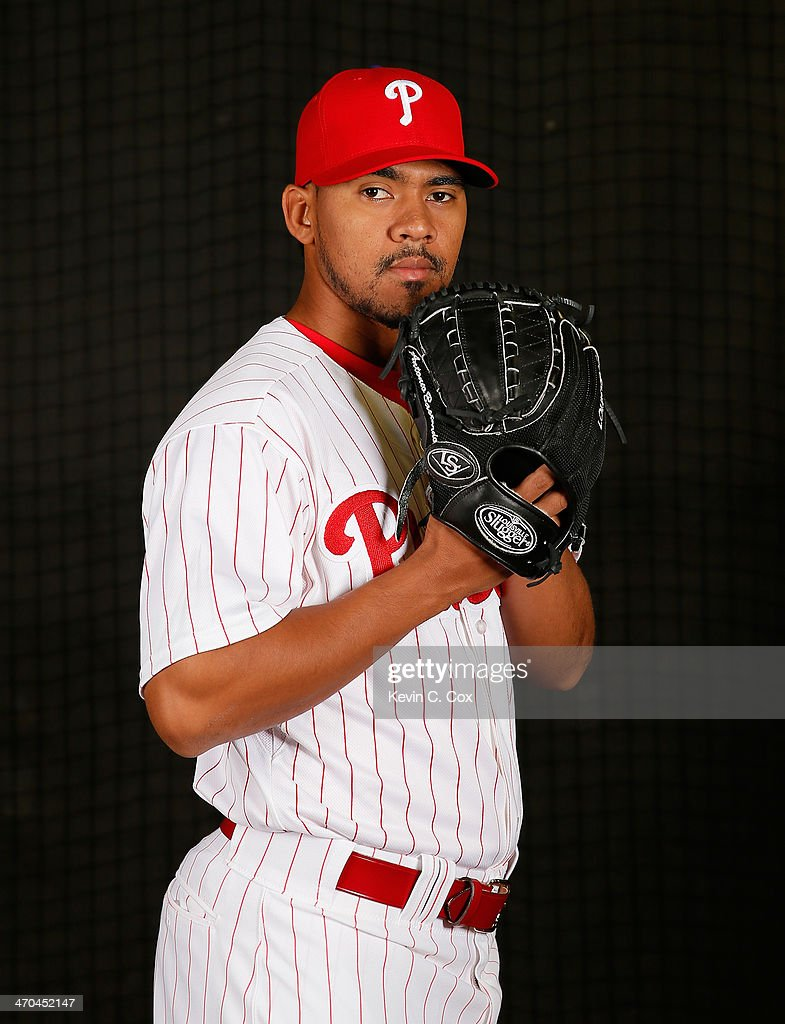 <a gi-track='captionPersonalityLinkClicked' href=/galleries/search?phrase=Antonio+Bastardo&family=editorial&specificpeople=5758440 ng-click='$event.stopPropagation()'>Antonio Bastardo</a> #59 of the Philadelphia Phillies poses for a portrait on February 19, 2014 at Bright House Field in Clearwater, Florida.