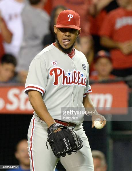 Antonio Bastardo of the Philadelphia Phillies reacts after the sixth run of the inning to trail 62 to the Los Angeles Angels during the sixth inning...