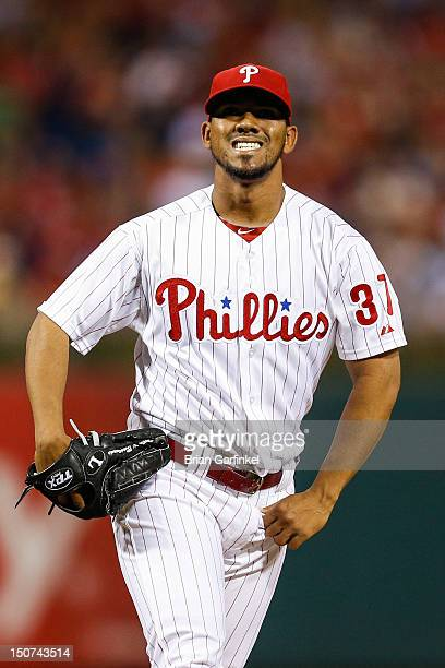 Antonio Bastardo of the Philadelphia Phillies reacts after the third out in the eighth inning of the game against the Washington Nationals at...