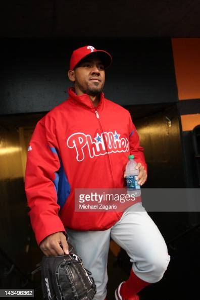 Antonio Bastardo of the Philadelphia Phillies stands in the dugout prior to the game against the San Francisco Giants at ATT Park on April 16 2012 in...