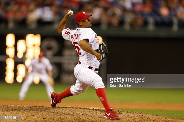 Antonio Bastardo of the Philadelphia Phillies throws a pitch during the game against the San Francisco Giants at Citizens Bank Park on July 30 2013...