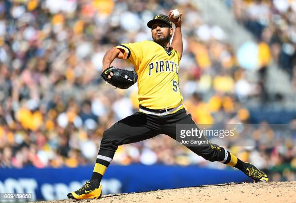 Antonio Bastardo of the Pittsburgh Pirates in action against the Atlanta Braves at PNC Park on April 9 2017 in Pittsburgh Pennsylvania
