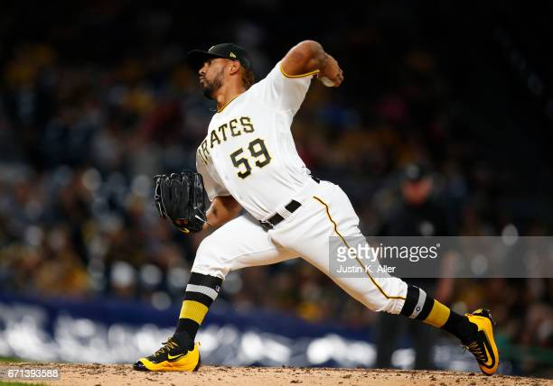 Antonio Bastardo of the Pittsburgh Pirates in action against the Cincinnati Reds at PNC Park on April 10 2017 in Pittsburgh Pennsylvania