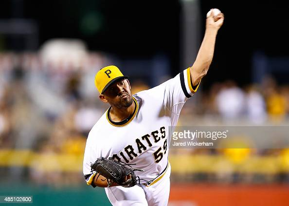 Antonio Bastardo of the Pittsburgh Pirates pitches against the Los Angeles Dodgers during the game at PNC Park on August 9 2015 in Pittsburgh...