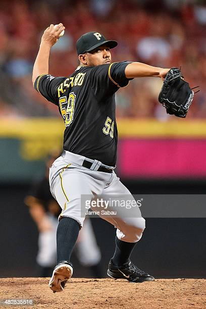 Antonio Bastardo of the Pittsburgh Pirates pitches against the Cincinnati Reds at Great American Ball Park on July 30 2015 in Cincinnati Ohio