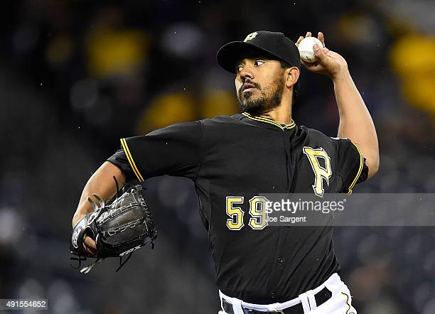 Antonio Bastardo of the Pittsburgh Pirates pitches against the Cincinnati Reds on October 2 2015 at PNC Park in Pittsburgh Pennsylvania