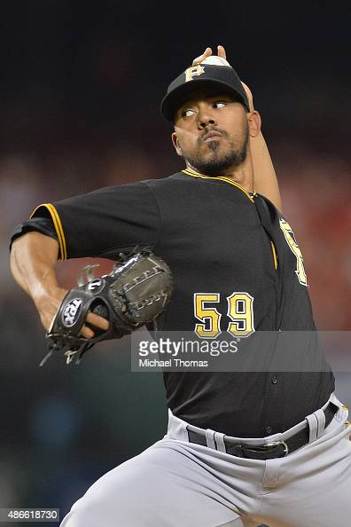 Antonio Bastardo of the Pittsburgh Pirates pitches against the St Louis Cardinals in the eighth inning at Busch Stadium on September 4 2015 in St...