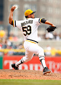 Antonio Bastardo of the Pittsburgh Pirates pitches against the Philadelphia Phillies during the game at PNC Park on June 14 2015 in Pittsburgh...