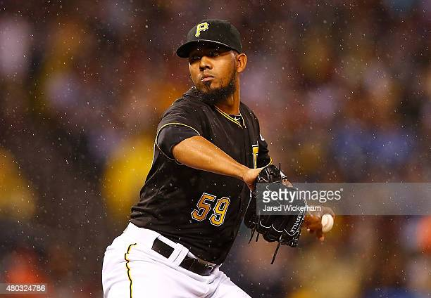 Antonio Bastardo of the Pittsburgh Pirates pitches against the Cleveland Indians during the game at PNC Park on July 3 2015 in Pittsburgh Pennsylvania