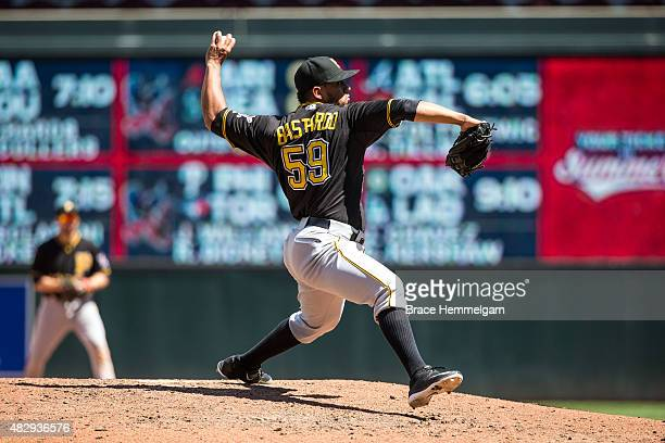 Antonio Bastardo of the Pittsburgh Pirates pitches against the Minnesota Twins on July 29 2015 at Target Field in Minneapolis Minnesota The Pirates...
