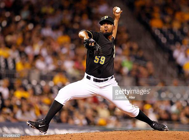 Antonio Bastardo of the Pittsburgh Pirates pitches in the ninth inning during the game against the San Diego Padres at PNC Park on July 8 2015 in...