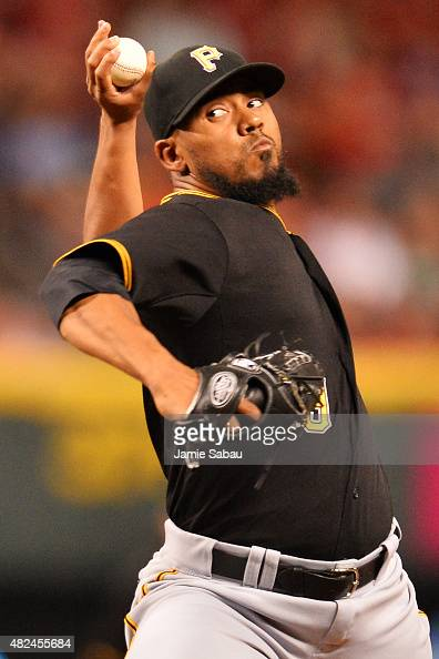 Antonio Bastardo of the Pittsburgh Pirates pitches in the sixth inning against the Cincinnati Reds at Great American Ball Park on July 30 2015 in...