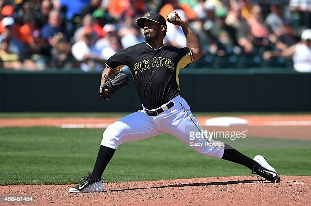 Antonio Bastardo of the Pittsburgh Pirates throws a pitch during a spring training game against the Baltimore Orioles at McKechnie Field on March 15...