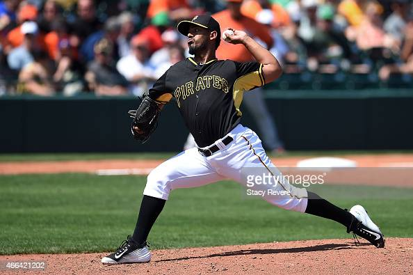 Antonio Bastardo of the Pittsburgh Pirates throws a pitch during the sixth inning of a spring training game against the Baltimore Orioles at...