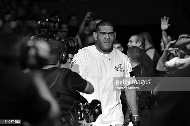 Antonio 'Big Foot' Silva enters the arena before the UFC Brisbane bout between Mark Hunt and Antonio 'Big Foot' Silva of Brazil at the Brisbane...