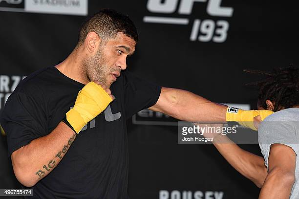 Antonio 'Bigfoot' Silva of Brazil holds an open workout for fans and media at Federation Square on November 12 2015 in Melbourne Australia