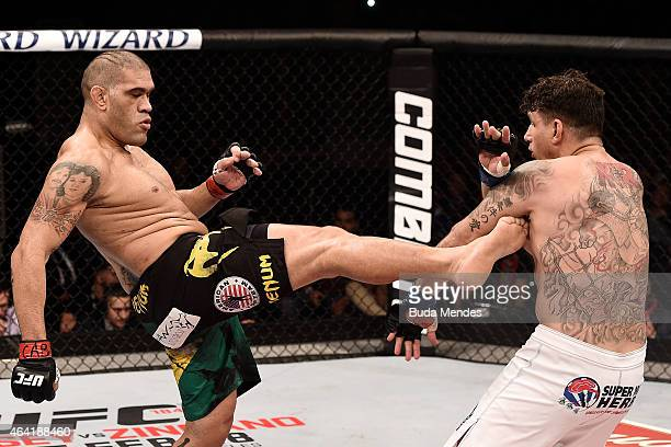 Antonio 'Bigfoot' Silva of Brazil kicks Frank Mir of the United States in their heavyweight bout during the UFC Fight Night at Gigantinho Gymnasium...