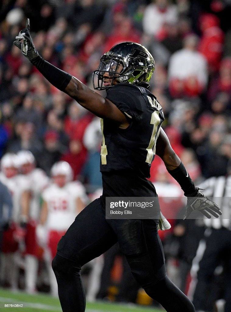 Antonio Blackmon #14 of the Purdue Boilermakers reacts after breaking up a pass in the fourth quarter of the game between the Purdue Boilermakers and the Nebraska Cornhuskers at Ross-Ade Stadium on October 28, 2017 in West Lafayette, Indiana.