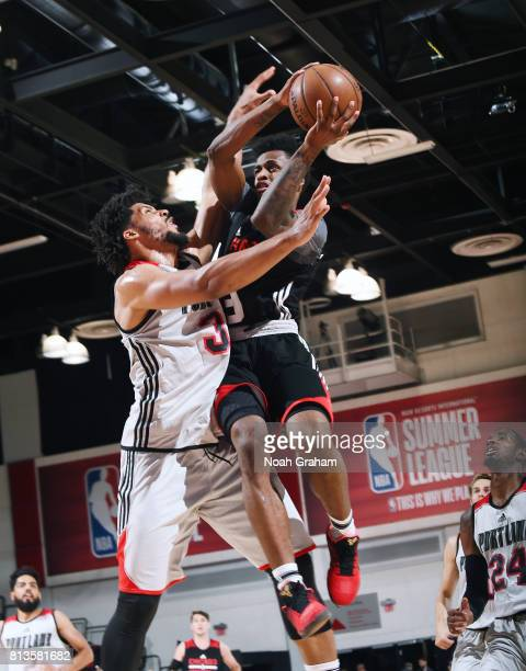 Antonio Blakeney of the Chicago Bulls goes for a lay up against the Portland Trail Blazers during the 2017 Summer League on July 12 2017 at Cox...