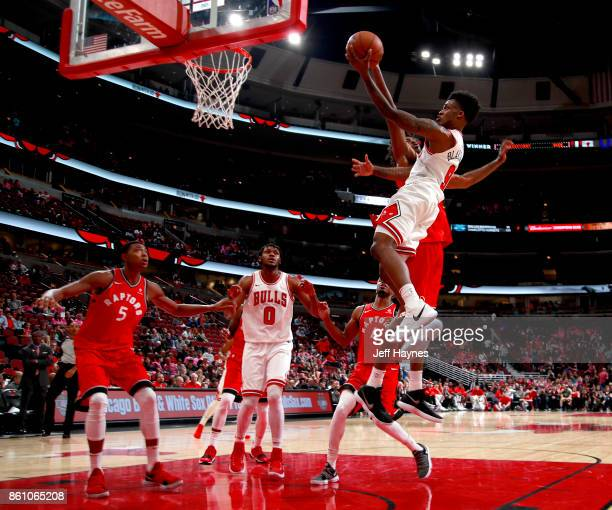 Antonio Blakeney of the Chicago Bulls goes to the basket against the Toronto Raptors on October 13 2017 at the United Center in Chicago Illinois NOTE...