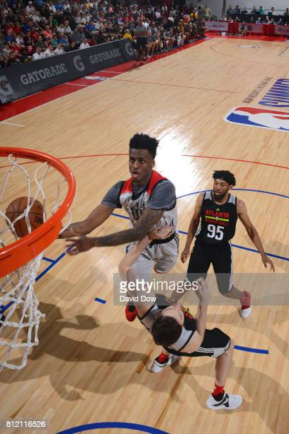 Antonio Blakeney of the Chicago Bulls goes up for a lay up against the Atlanta Hawks during the 2017 Las Vegas Summer League on July 10 2017 at the...
