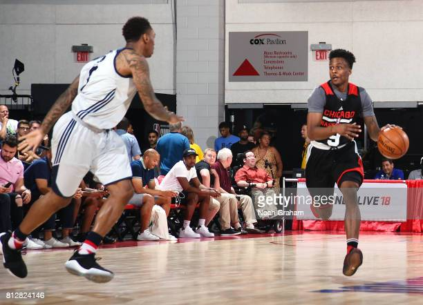 Antonio Blakeney of the Chicago Bulls handles the ball against the Washington Wizards during the 2017 Summer League on July 11 2017 at Cox Pavillion...