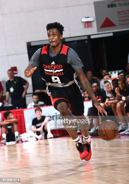 Antonio Blakeney of the Chicago Bulls handles the ball against the Portland Trail Blazers during the 2017 Summer League on July 12 2017 at Cox...