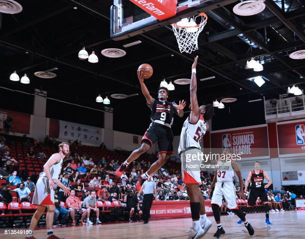 Antonio Blakeney of the Chicago Bulls shoots a lay up against the Portland Trail Blazers during the 2017 Summer League on July 12 2017 at Cox...