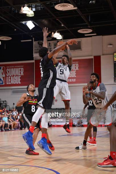 Antonio Blakeney of the Chicago Bulls shoots the ball against the Atlanta Hawks during the 2017 Las Vegas Summer League on July 10 2017 at the Cox...