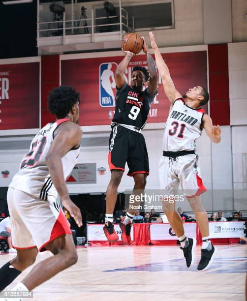 Antonio Blakeney of the Chicago Bulls shoots the ball against the Portland Trail Blazers during the 2017 Summer League on July 12 2017 at Cox...
