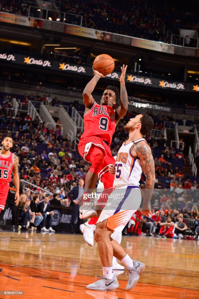 Antonio Blakeney #9 of the Chicago Bulls shoots the ball against the Phoenix Suns on November 19, 2017 at Talking Stick Resort Arena in Phoenix, Arizona.