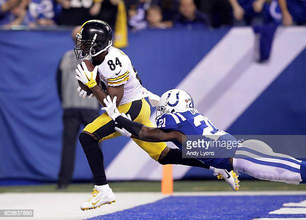 Antonio Brown of the Pittsburgh Steelers beats Vontae Davis of the Indianapolis Colts to make a touchdown catch during the second quarter of the game...
