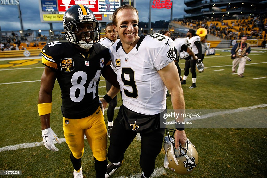 Antonio Brown #84 of the Pittsburgh Steelers congratulates Drew Brees #9 of the New Orleans Saints after New Orleans 35-32 win at Heinz Field on November 30, 2014 in Pittsburgh, Pennsylvania.