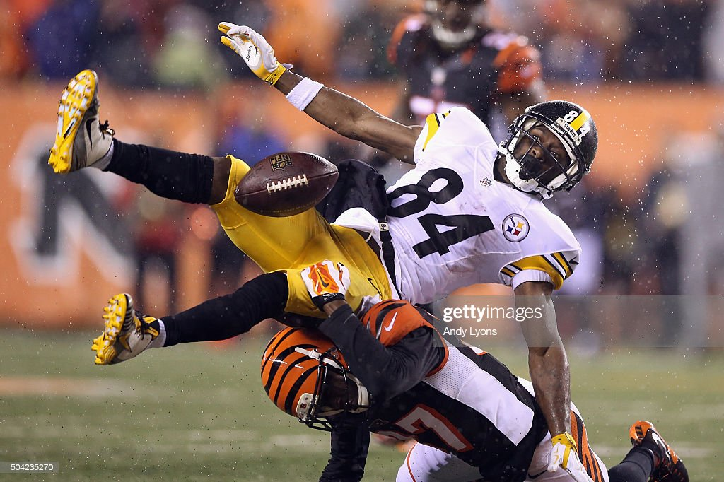 Antonio Brown #84 of the Pittsburgh Steelers is unable to catch a pass as he is defended by Chris Lewis-Harris #37 of the Cincinnati Bengals in the fourth quarter during the AFC Wild Card Playoff game at Paul Brown Stadium on January 9, 2016 in Cincinnati, Ohio.
